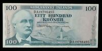 1961 Iceland Sedlabanki Islands 100 Kronor World Foreign Currency Banknote #294