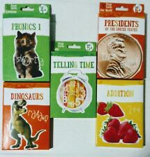 Educational Cards For Kids. Time, Phonics, Dinosaurs, Presidents, Math. Set of 5