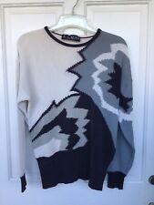 Escada By Margaretha Ley Vintage Black, Gray & Ivory Sweater Size L, Germany.