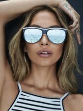 QUAY Australia HOLLYWOOD NIGHTS Cat Eye Black White Silver Sunglasses 55*15*145
