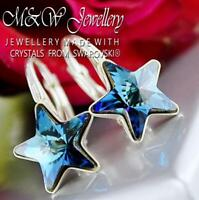 925 Silver Earrings Crystals from Swarovski® 10mm RIVOLI STAR - Bermuda Blue F