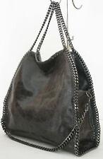 Luxury ital. Handtasche Schulter Damen Tasche feinstes Leder & Ketten