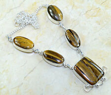 "Golden Tiger's Eye Gemstone 100% Pure 925 Sterling Silver Necklace 19.25"" #X7925"
