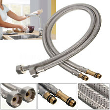 2x Stainless Steel Flexible 1/2'' Water Supply Hoses Hot Cold For Sink Faucet