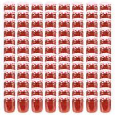 vidaXL 96x Jampot met Wit Rode Deksel Glas Jampotten Glazen Opbergpot Pot