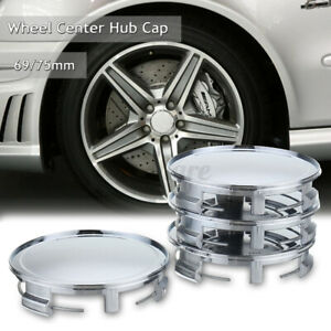 4Pcs Chrome 75mm/ 69mm Car Wheels Center Hub Caps Cover For Mercedes NO LOGO