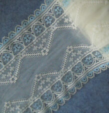 "3.5 Yards 6"" Wide Stretch Ivory Lace with Baby Blue Flower On Edge 1016"