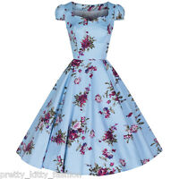 Sky Blue Vintage Floral Print 50s Rockabilly Prom Bridesmaid Swing Dress 8-26
