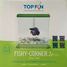 Top Fin Fishy Corner Beta Fish Tank 1/2 Gallon Aquarium Bowl Desk Table Small