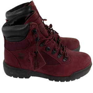Timberland Mens 6 Inch Field Boot Red Burgundy Leather Steel Toe A1A2X 8.5 New