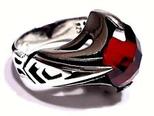 Turkish Ottoman  Red Garnet Solid 925 Sterling Silver Men Ring Gemstone