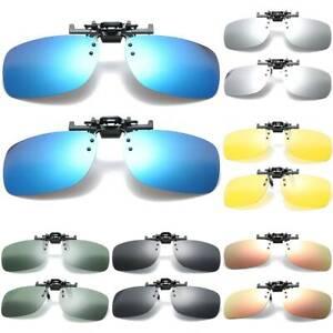 Men Polarized Flip Up Clip On Sunglasses Driving Fishing UV Protector Glasses