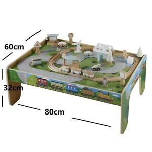 Kid Pretend Toy Large 50pc Wooden Train Track Table Set (80cm*60cm)
