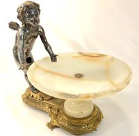 Antique Art Nouveau Figural Bronze Spelter Cherub Cupid Statue and Neptune Nice!