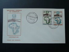 geography map of Africa hands cooperation Decaris FDC Cameroon 1964