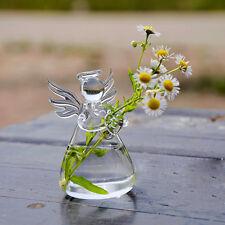 Clear Glass Angel Shape Flower Plant Hanging Vase Home Office Wedding Decor