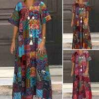 ZANZEA Womens Short Sleeve Vintage Printed Casual Loose Kaftan Baggy Maxi Dress