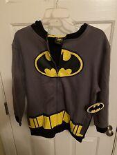 DC Comics Batman Bat Ears Hood Boys L 10/12 Zip Up Hoodie Jacket Grey Black