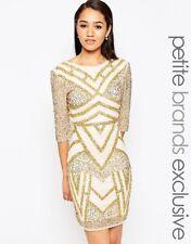 Maya Petite Embellished Bodycon Dress Cream Uk 10