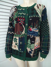 Talbots Petites Sweater PM Cardigan Cotton Ramie Hand Knit Wilderness Theme
