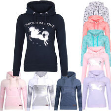 Sublevel Damen Pullover Sweatshirt sweatpullover Kapuzenpullover Einhorn Hoodie