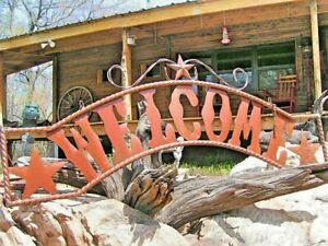 Large Metal WELCOME Sign, Entry or Gate entrance sign, 57 inches