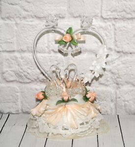 Vintage Wedding Cake Topper Blown Glass Swans in Heart Bells Love Birds Lace