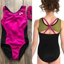 NWT GK Elite Pink Magenta Olive Black Gymnastics Leotard Child Small CS 4-6
