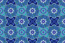 Fabric #2590 Blue Purple Green White Medallions StudioE Sold by 1/2 Yard