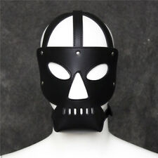Black Leather Blindfold Face Mask Slave Game Harness Open Mouth Role Play