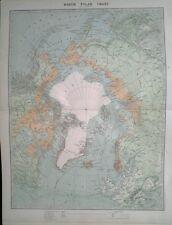1896 LARGE VICTORIAN MAP ~ NORTH POLAR CHART ~ EXPLORERS & DATES etc