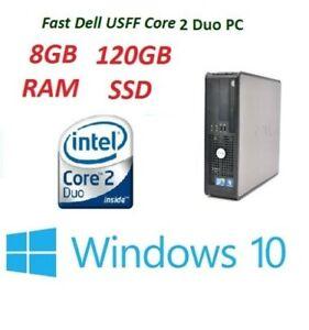 FAST DELL 780 USFF PC Core 2 Duo Processor 8 GB RAM 120 GB SSD  WINDOWS 10 WIFI