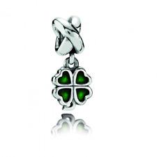* Authentic Pandora Green Four-Leaf Clover 790572EN Lucky St. Patricks Day Charm