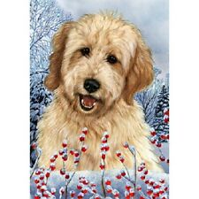 Winter House Flag - Buff Goldendoodle 15268