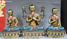 "13"" China Bronze Painting Temple Lotus zongkaba JE Je Tsongkhapa Buddha Statues"