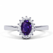 Tanzanite Solitaire with Accents Fine Diamond Rings