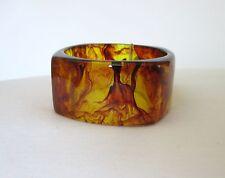 "Amber w Marble-Like Design Heavy Acrylic Square Bangle Bracelet. 1½"" Wide. NWT"