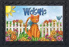 "Welcome Cat Spring Doormat Indoor Outdoor Fence Kitty 18"" x 30"" Briarwood Lane"