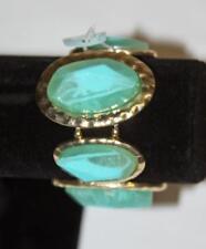Turquoise Color Bracelett Gold Tone Bezel Expand Fashion Costume Jewelry JXG New