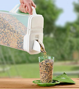 Buddeez 8Qt Pet Food / Bird Seed Storage Container and Dispenser - Flip Lid with