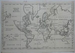 Original 1755 Gentleman's Magazine MAP OF THE WORLD ON MERCATOR'S PROJECTION