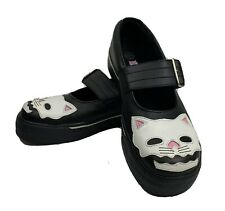 RARE Anarchic Cat Shoes Monster Face Goth Punk Rock 10 Mary Janes TUK Flats