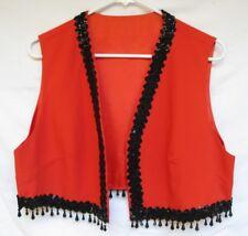 Vintage Women's Costume Cosplay Vest Hippie BoHo Beaded Sequined Trim Sz Lg