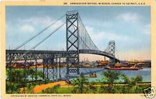 Postcard Michigan Detroit Ambassador Bridge Windsor Ontario Linen 1940s