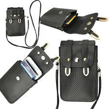 Black Mini Wallet with Shoulder Strap Girls Bag for iphone Samsung HTC Motorola