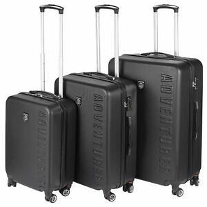 Adventurer 3 Piece Luggage Suitcase Set Lightweight 4 Wheel ABS Hard Shell Black