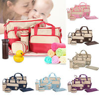 5Pcs Baby Nappy Multi Function Shoulder Bag Diaper Changing Mat Tote Handbag Set