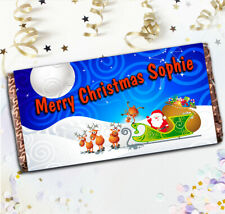 Personalised Merry Christmas Chocolate Bar N23 Girls Boys Stocking Filler Gift