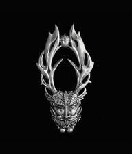 Sterling Silver Cernunnos Horned God of the Forest Pendant. Peter Stone.