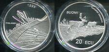 FINNLAND 1998 - 20 Ecu in 925 Silber (27g), PP - RENTIER SKIFAHREN